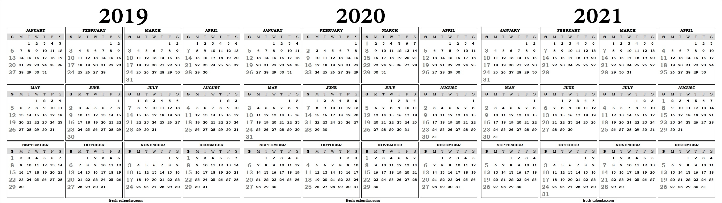 Three Yearly 2019 2020 2021 Calendar Printable Free | Blank Template for One Page Yearly Calendar 2019-2020