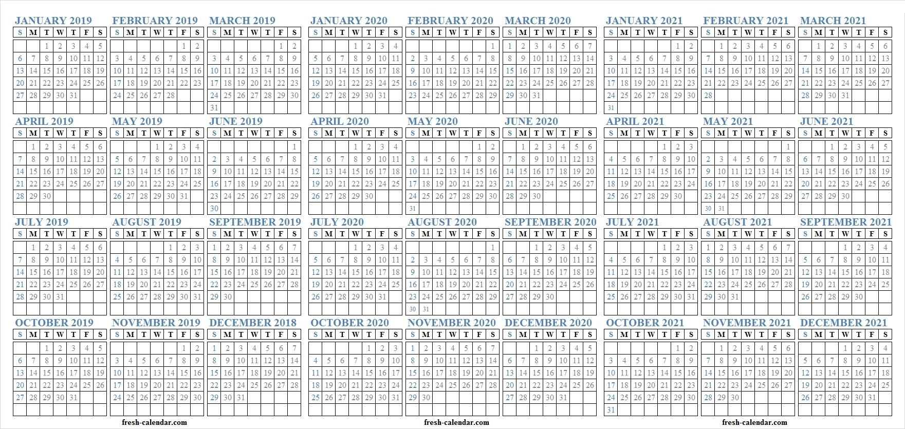 Three Yearly 2019 2020 2021 Calendar Printable Free | Blank Template inside June 2019 To May 2020 Calendar
