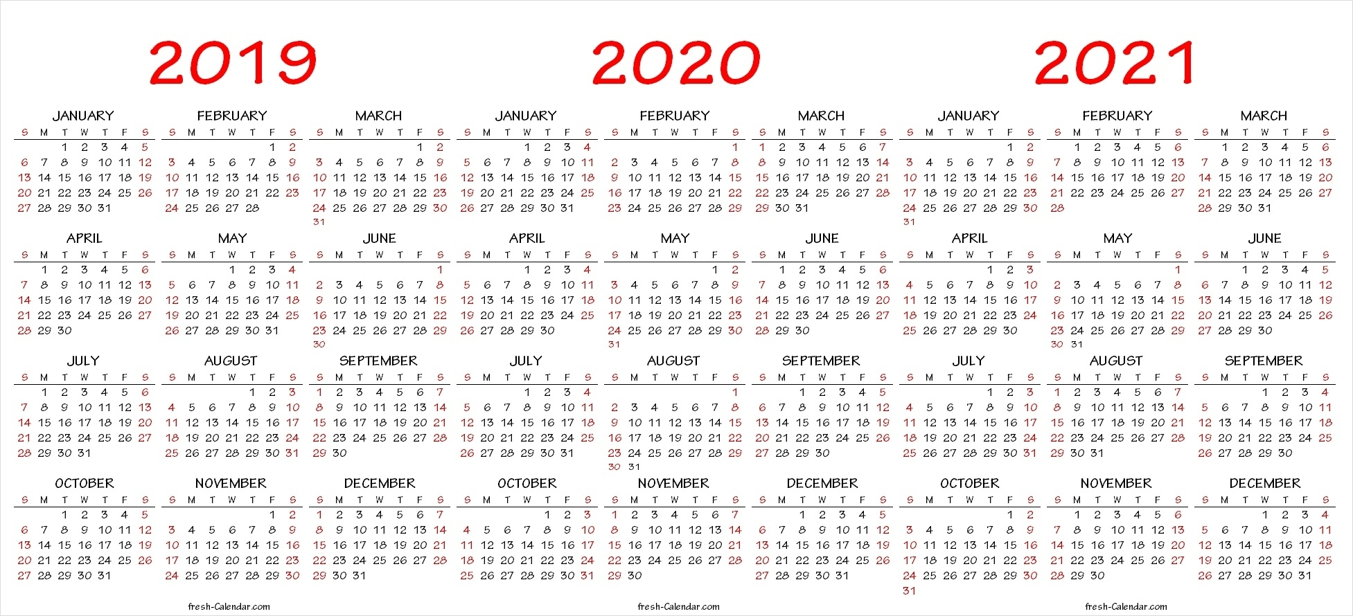 Three Yearly Calendar 2019 2020 2021 Printable Free | Blank Template for Three-Year Calendar 2019, 2020, 2021