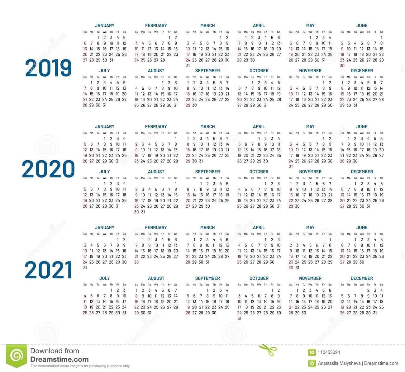 Three Years Calendar, 2019, 2020, 2021, Isolated, Flat Stock Vector inside Three Year Calendar 2019 2020 2021
