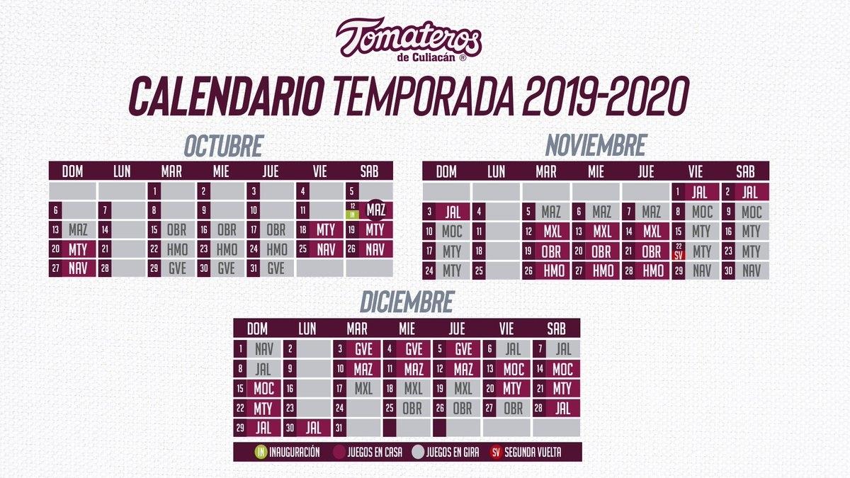 Tomateros Conoce Su Calendario Para Temporada 2019-2020 De La Lmp in Calendario Liga Mx 2019 2020