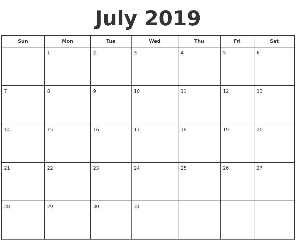 Top Printable July Monday Through Friday 2019 Calendar * Calendar within Printable Monday Through Friday Calendar