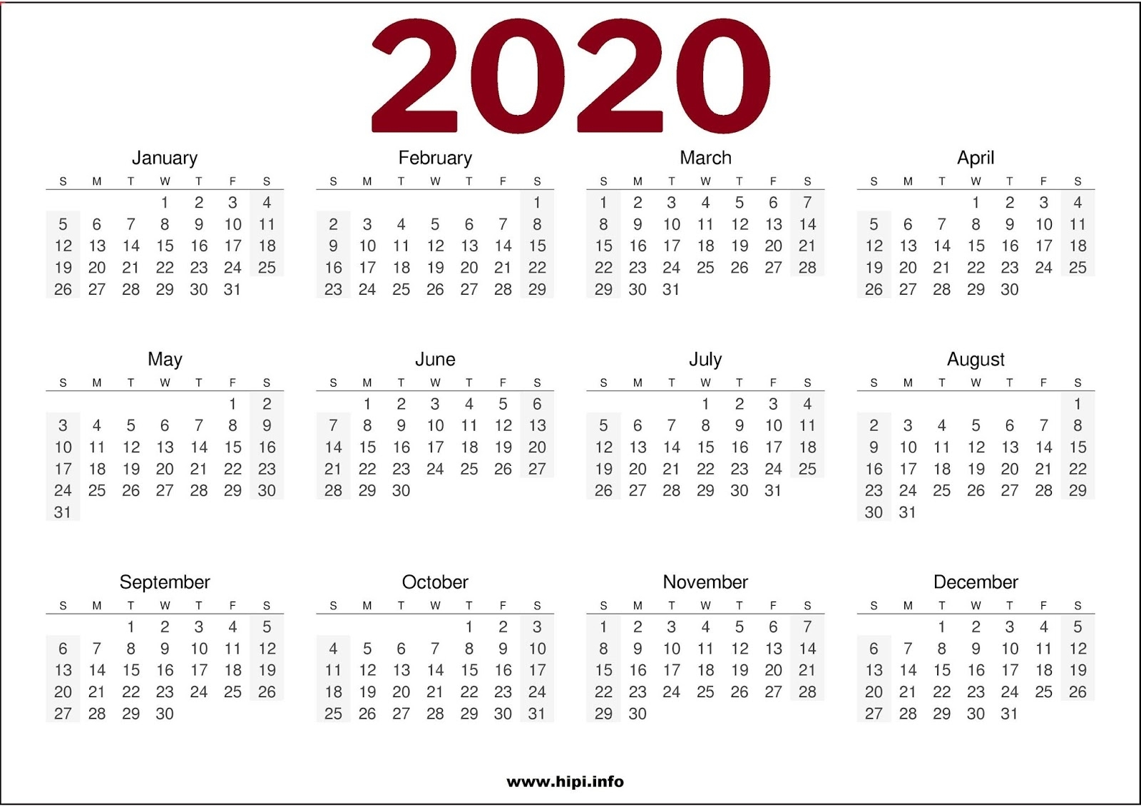 Twitter Headers / Facebook Covers / Wallpapers / Calendars: 2020 pertaining to 2020 Calendar Printable One Page