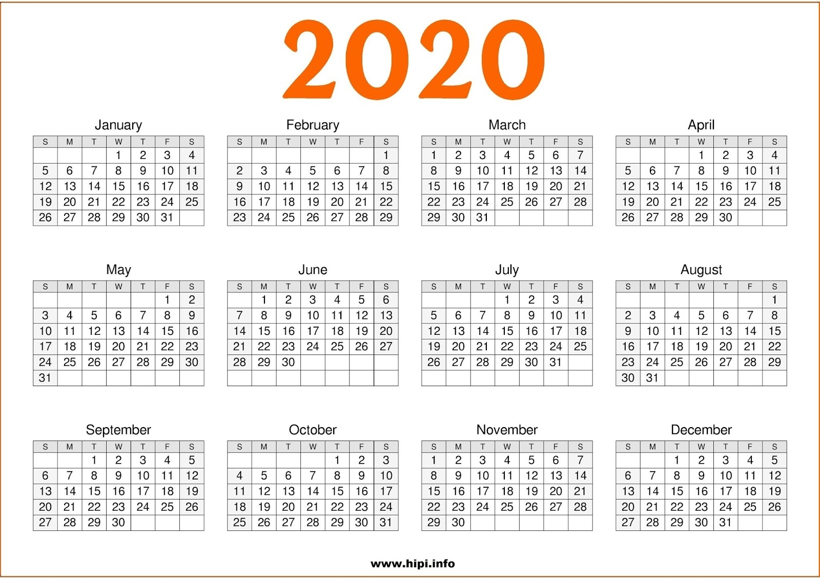 Twitter Headers / Facebook Covers / Wallpapers / Calendars: 2020 within 2020 Calendar Printable One Page
