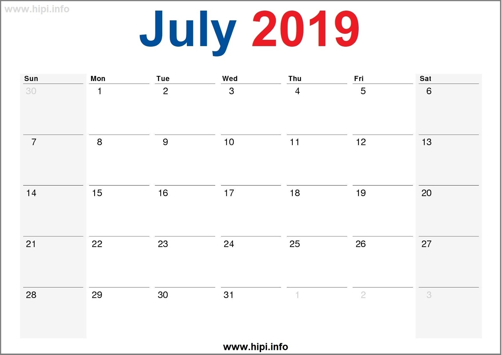 Twitter Headers / Facebook Covers / Wallpapers / Calendars: July for Caleners From July 2019 -December 2020 Free Printable