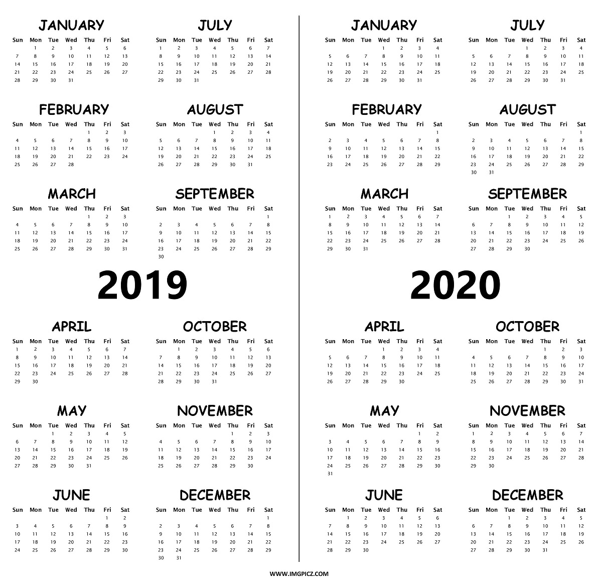 Two Year Calendar 2019 And 2020 With Free Printable Word Calendars in Year Long Calendar 2019- 2020 Printable