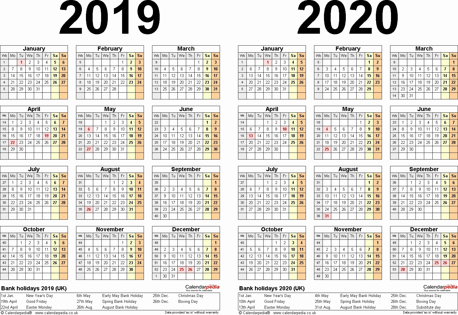 Two Year Calendar 2019 And 2020 With Yearly Printable A4 Calendars for A4 Yearly Calendars For 2019 And 2020