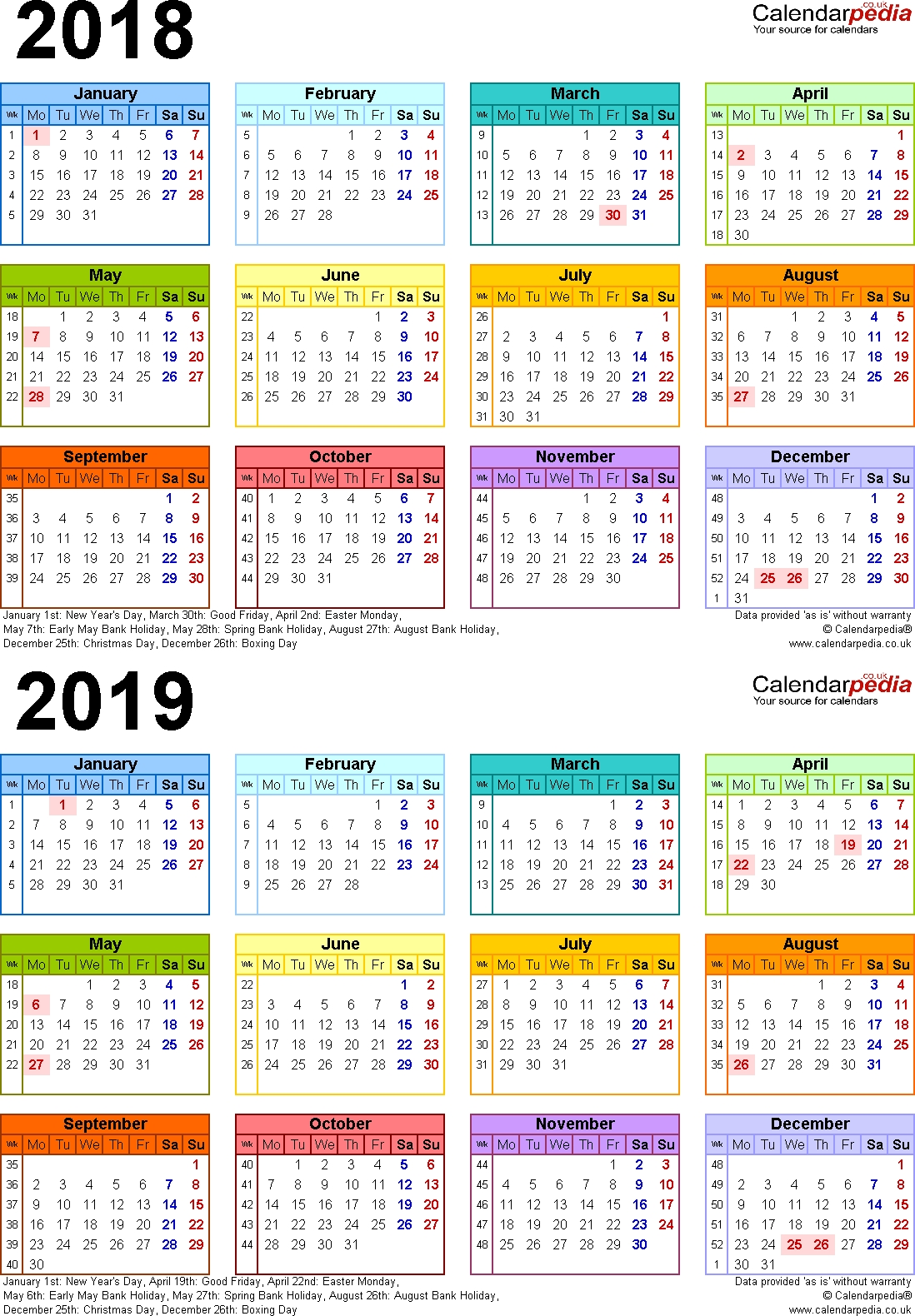 Two Year Calendars For 2018 & 2019 (Uk) For Word inside Calendar 2019-2020 365
