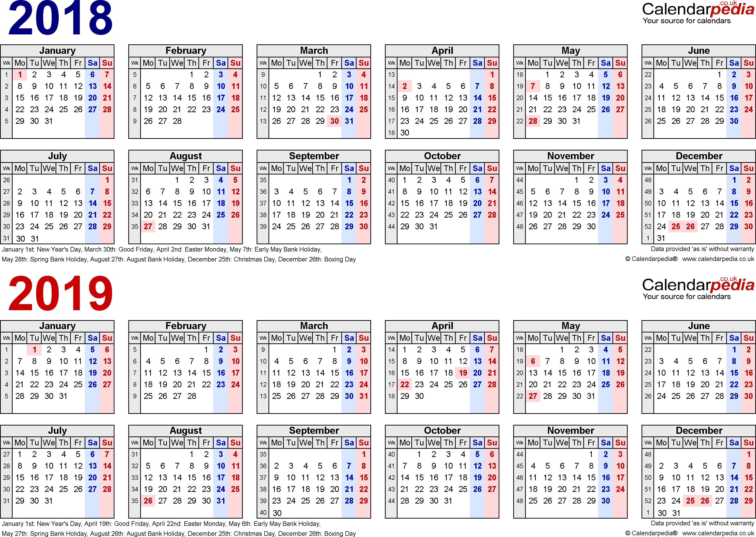 Two Year Calendars For 2018 & 2019 (Uk) For Word inside One Page 2 Years Calendar 2019 2020 With Week Number
