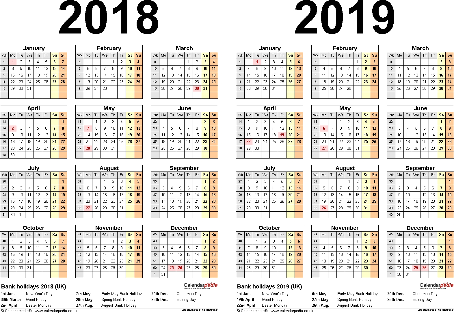 Two Year Calendars For 2018 & 2019 (Uk) For Word with regard to One Page 2 Years Calendar 2019 2020 With Week Number