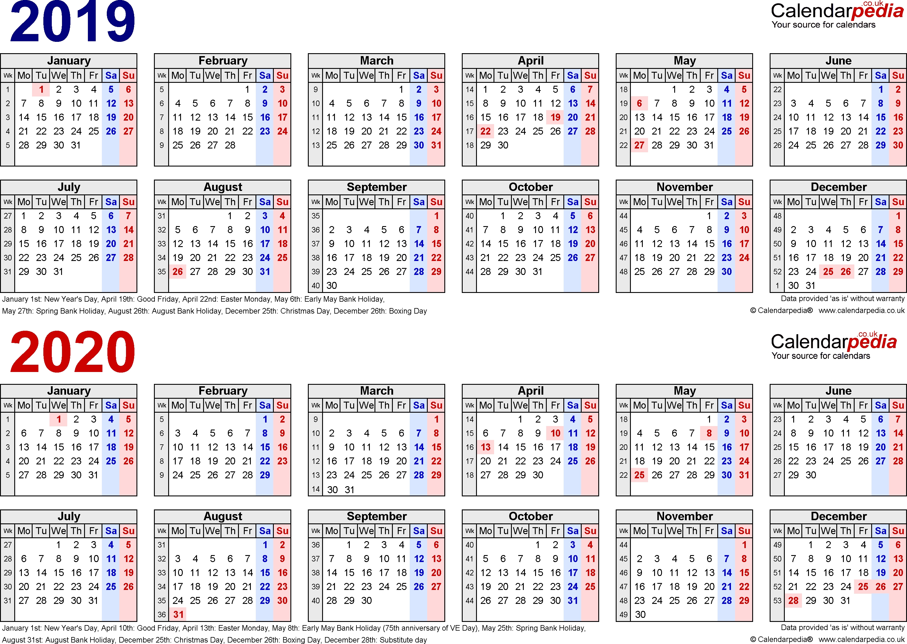 Two Year Calendars For 2019 & 2020 (Uk) For Pdf with regard to A4 Yearly Calendars For 2019 And 2020