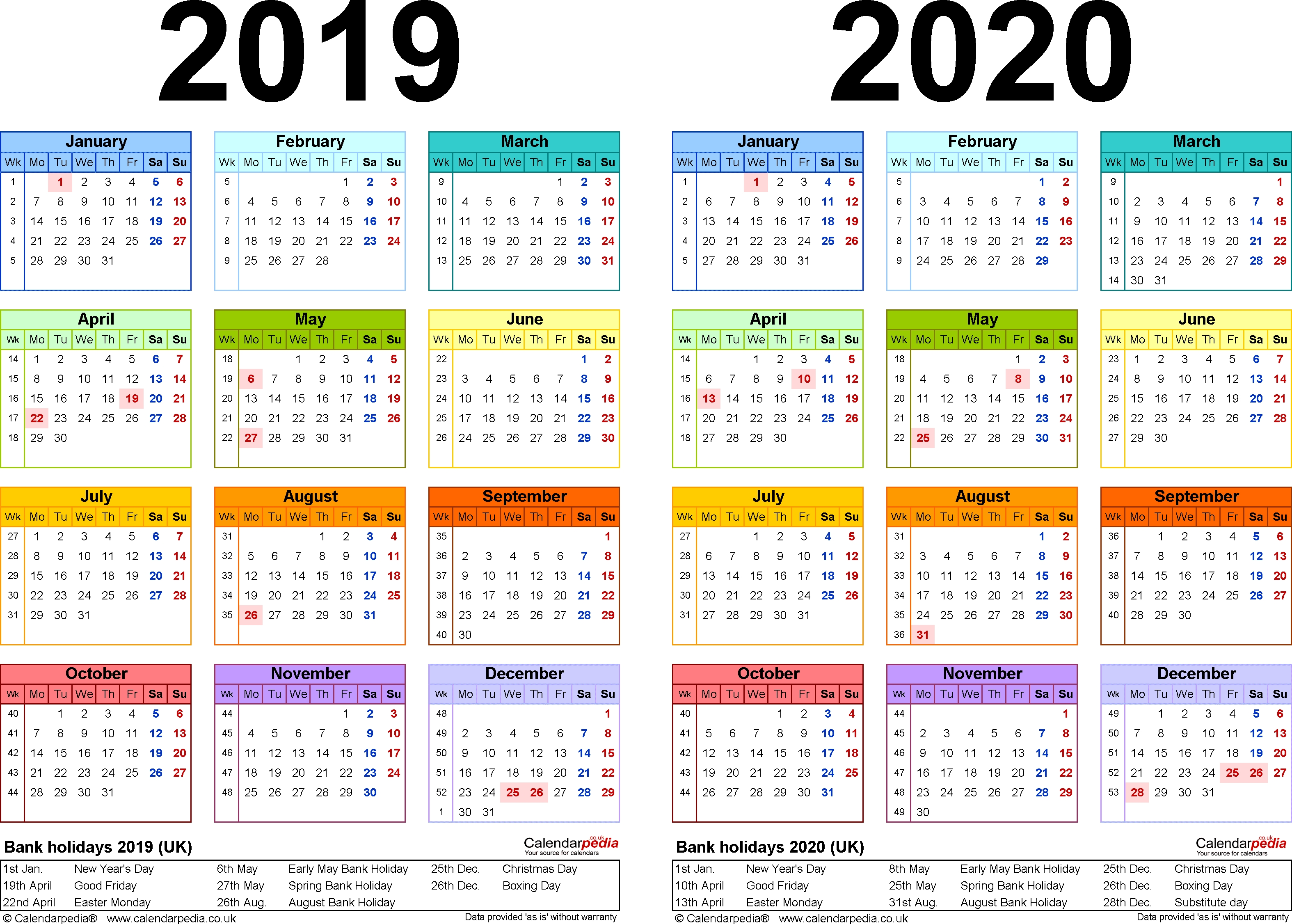 Two Year Calendars For 2019 & 2020 (Uk) For Word within Google Annual Calendar 2019-2020