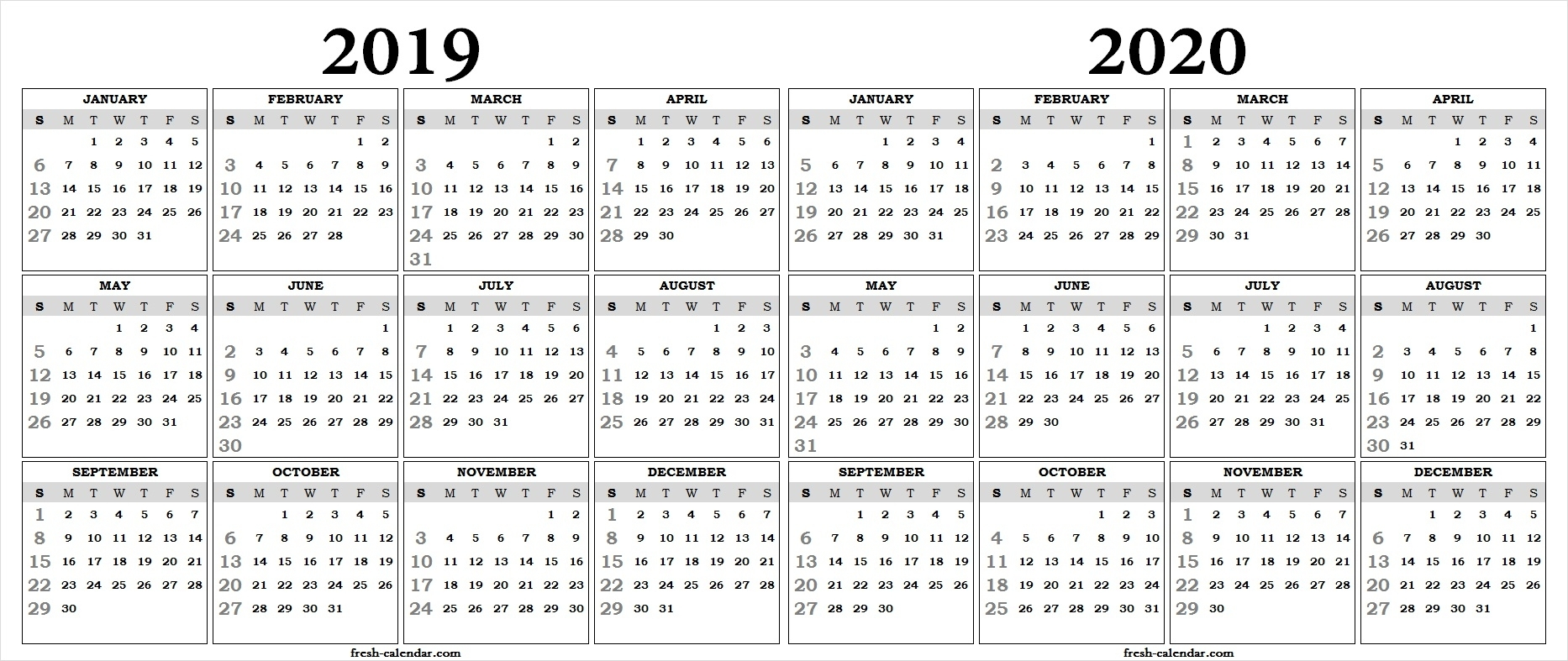 Two Yearly 2019 2020 Calendar Printable | Blank Calendar Template for 2019 And 2020 Calendar One Page