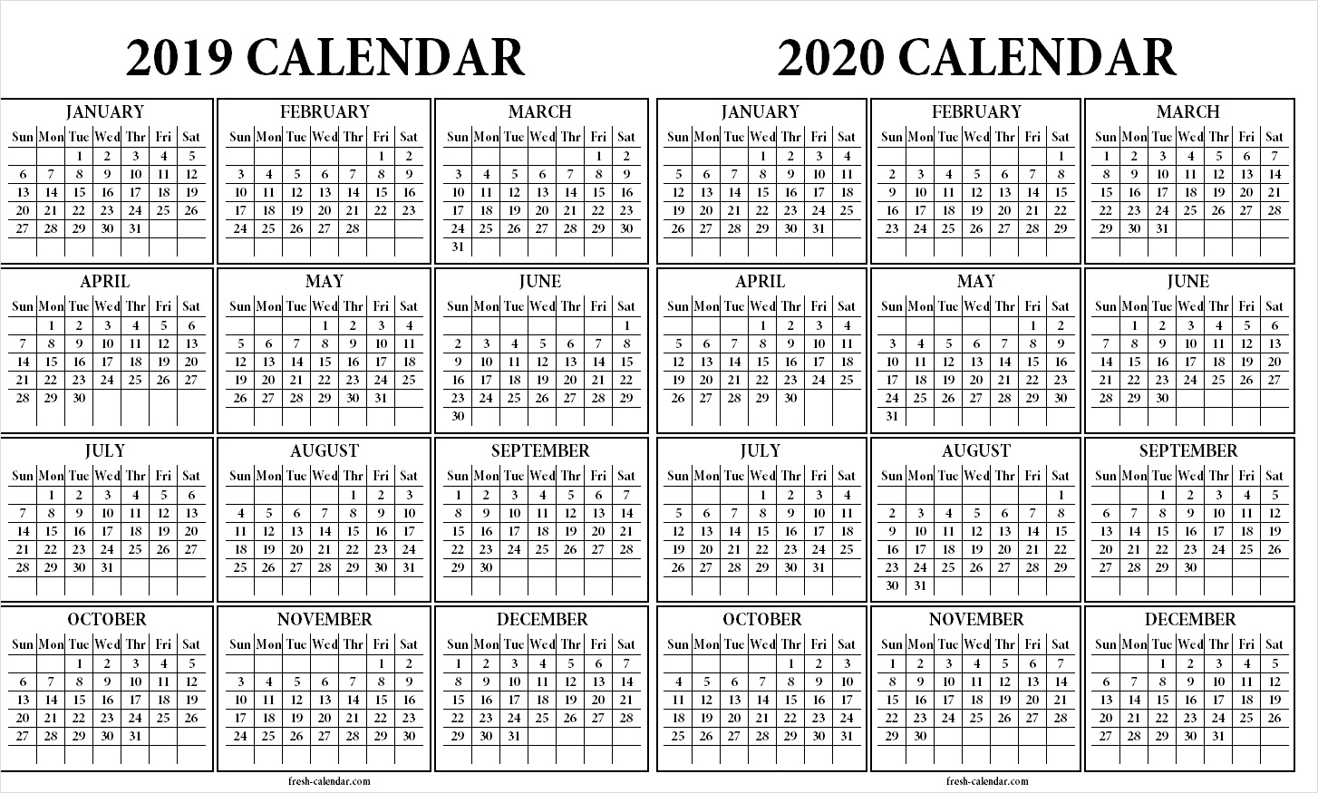 Two Yearly 2019 2020 Calendar Printable | Blank Calendar Template inside 2019/2020 Calendar On One Page
