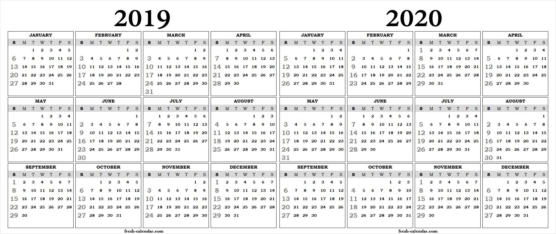 Two Yearly 2019 2020 Calendar Printable   Blank Calendar Template inside One Page 2019-2020 Calendar