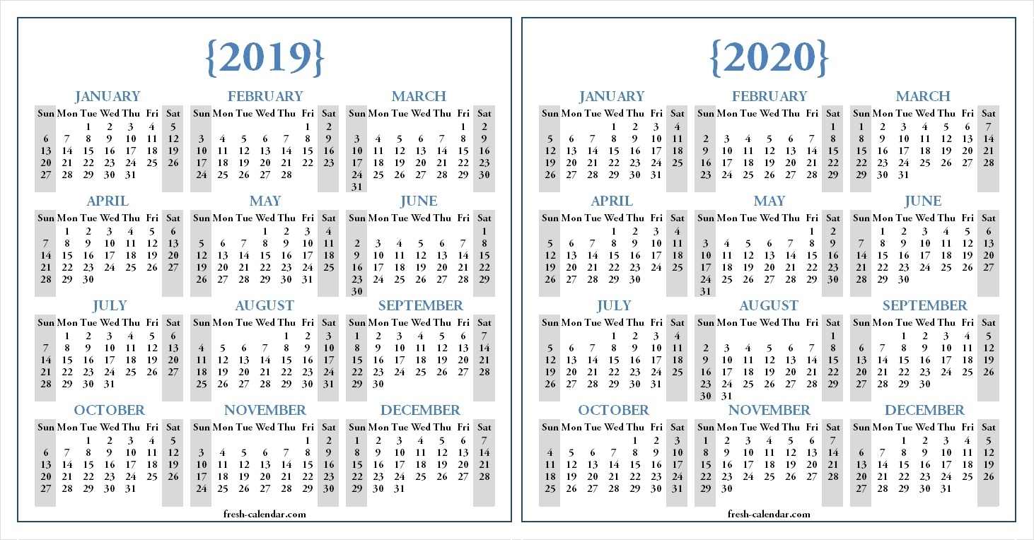 Two Yearly 2019 2020 Calendar Printable | Blank Calendar Template intended for Free Printable 2019 2020 Calendar