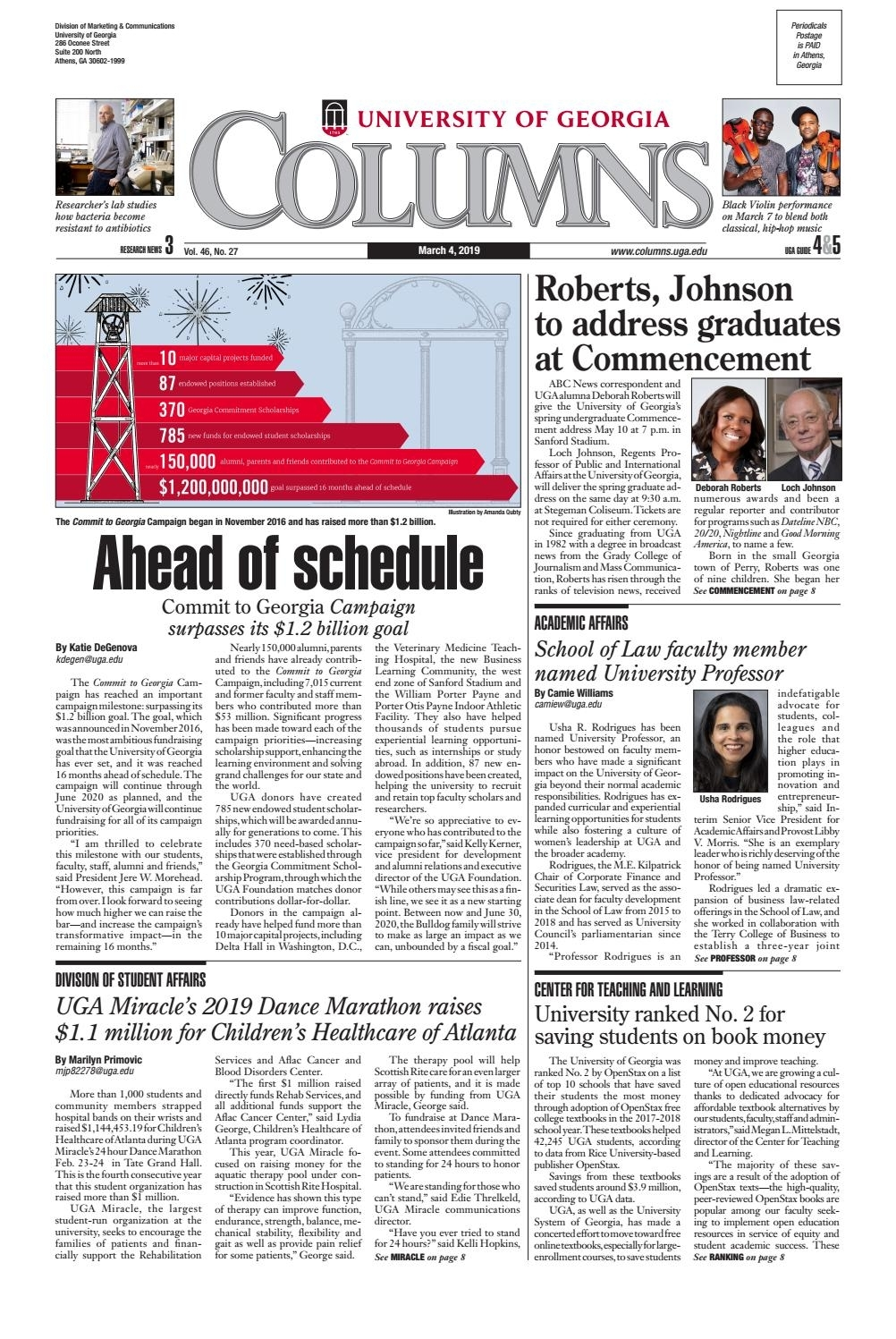 Uga Columns March 4, 2019Uga Columns - Issuu inside Uga 2019/2020 Calendar