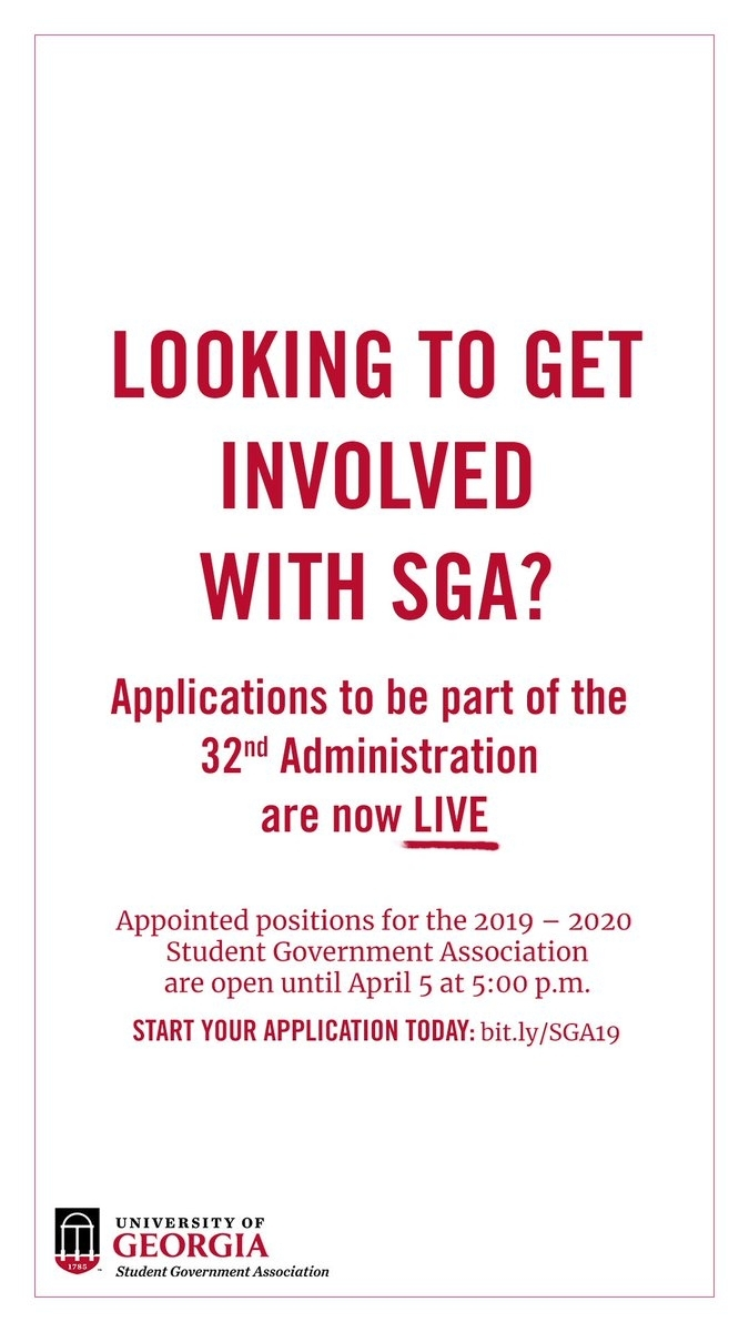 """Uga Sga On Twitter: """"want To Get Involved With Sga? Submit An App intended for Uga Academic Schedule 2019 2020"""
