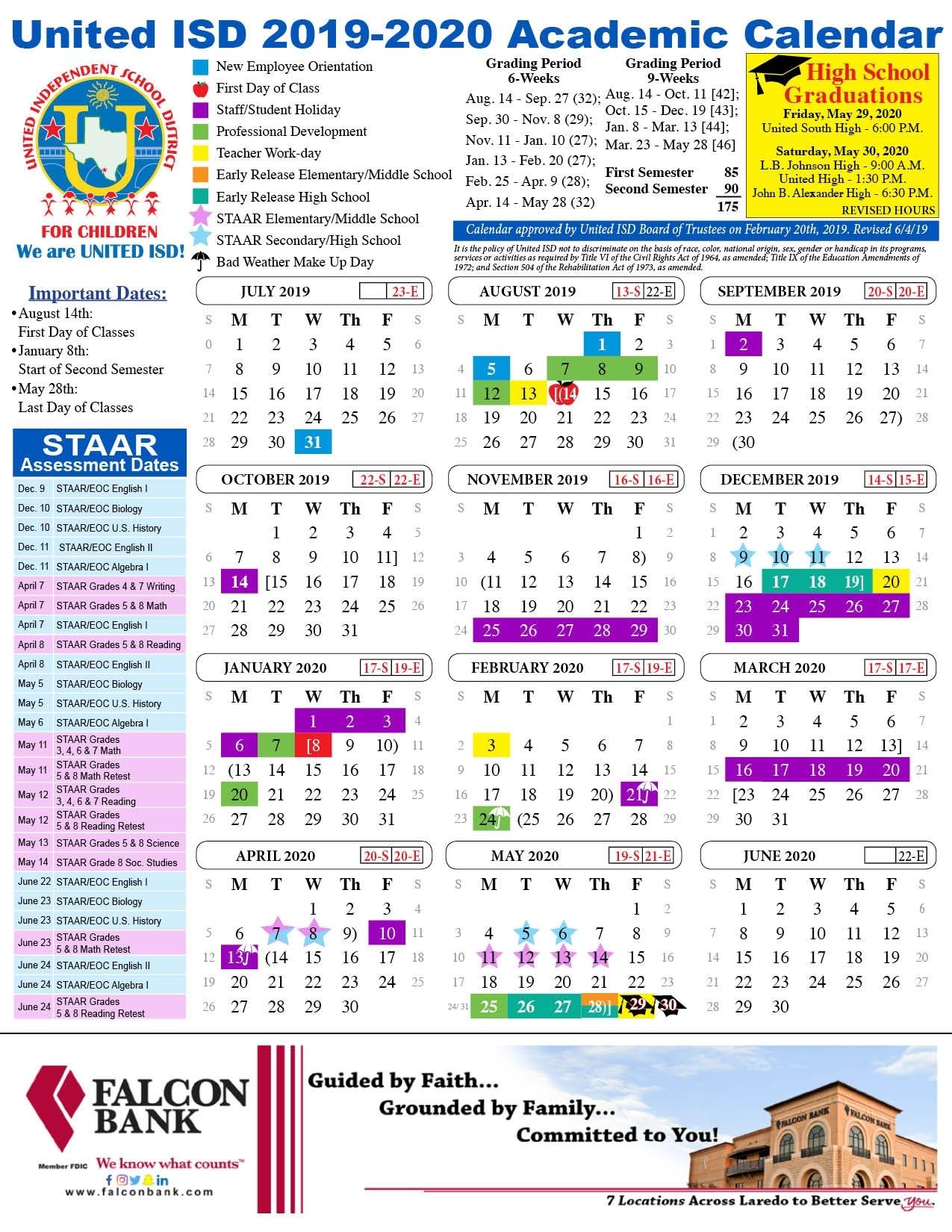 United Isd - Academic Calendar regarding Calendar 2019-2020 Important Dates