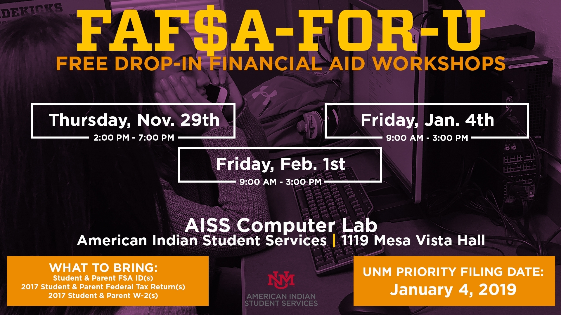 Unm Events Calendar - Faf$A-For-U Workshop in 2019 2020 Calendar Unm