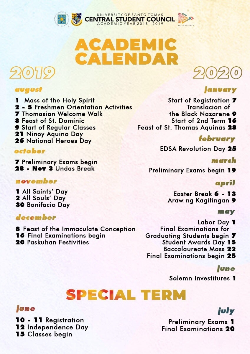 """Ust Freshie '19 -'20 On Twitter: """"here Is Our Academic Calendar For in U Of C Calendar 2019/2020"""