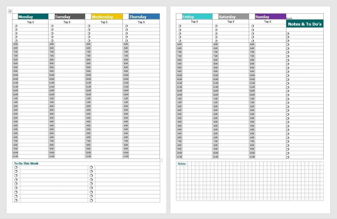 Vertical Weekly Planner With Hourly Checklists Daily Top 5   Etsy regarding Schedule With Time Slots 6 Am