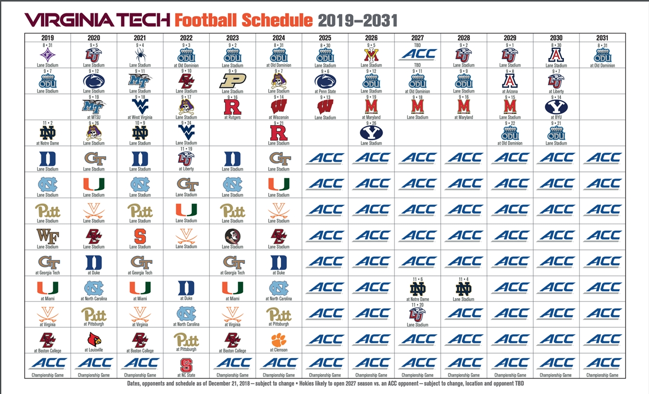 Virginia Tech Announces Upcoming Football Schedule Changes regarding Virginia Tech Calendar 2019-2020