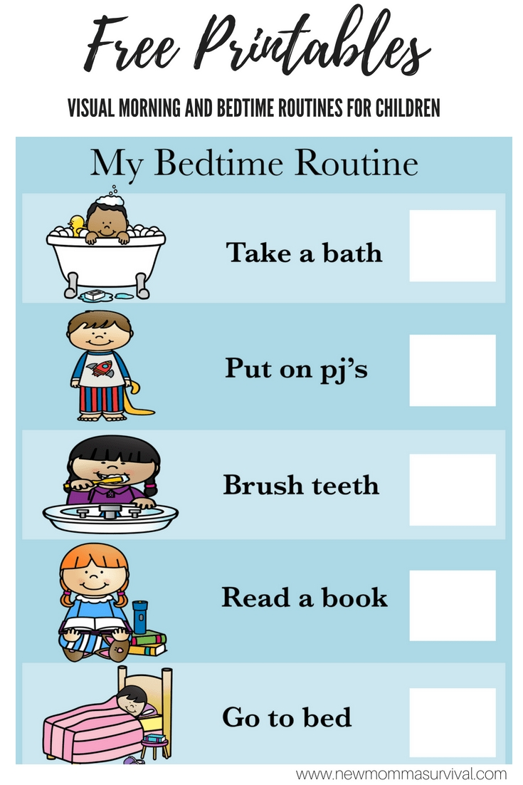 Visual Schedule For Children- Morning And Bedtime Routines | Lilly within Free Printable Picture Schedules For Children