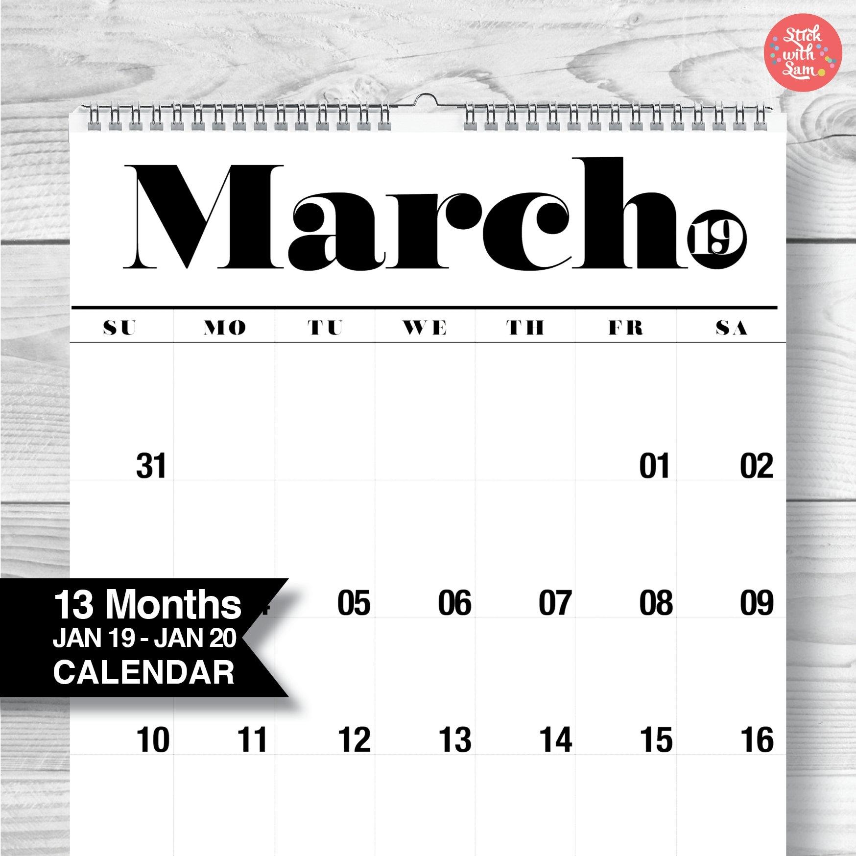 Wall Calendar 2019 / 2020. Large A3 Yearly Wall Calendar. 13 | Etsy throughout 2020 Wall Calendar Kikki K