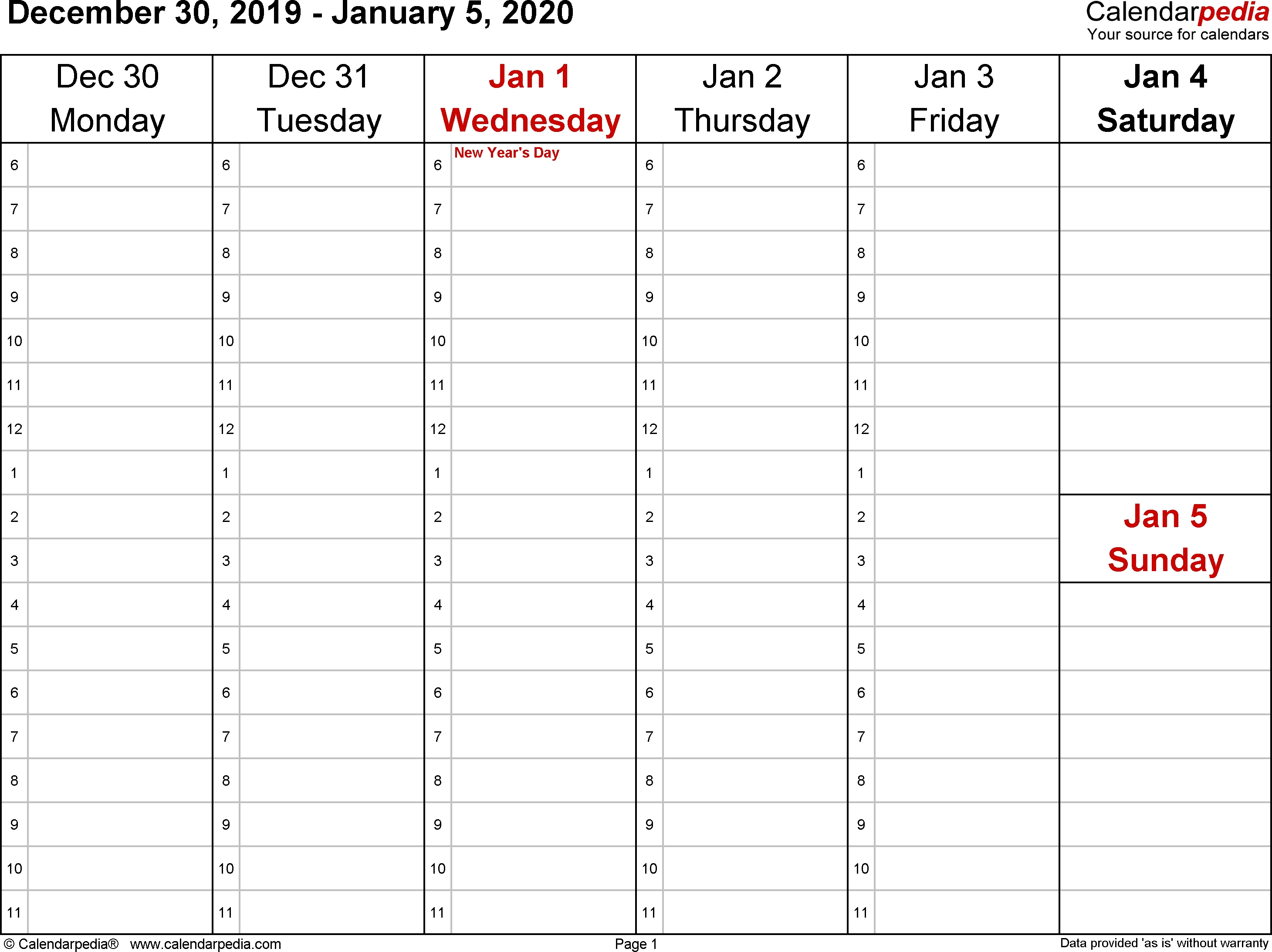 Weekly Calendar 2020 For Excel - 12 Free Printable Templates with regard to Calender 2020 Template Monday To Sunday