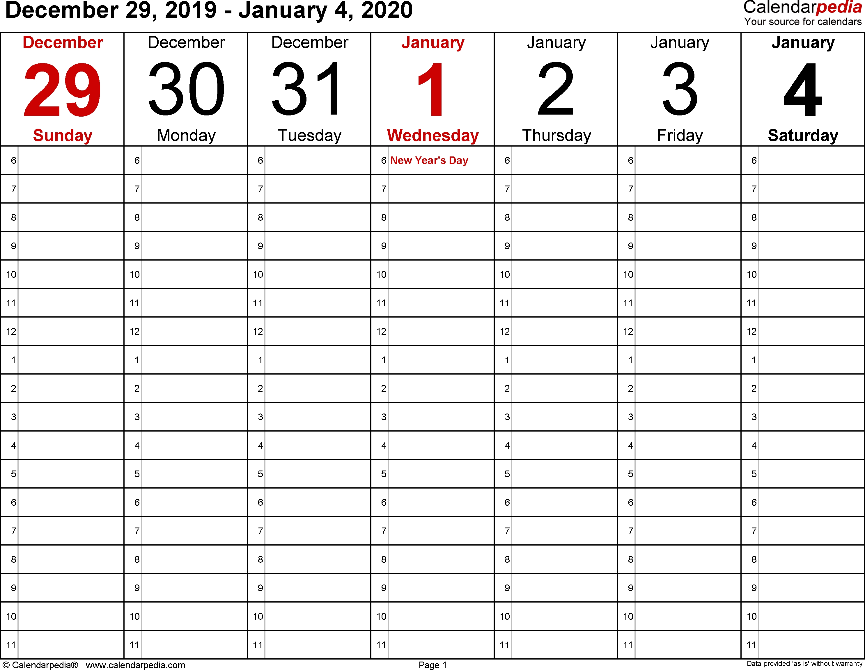 Weekly Calendar 2020 For Word - 12 Free Printable Templates pertaining to Printable Calendar One Week Per Page 2020