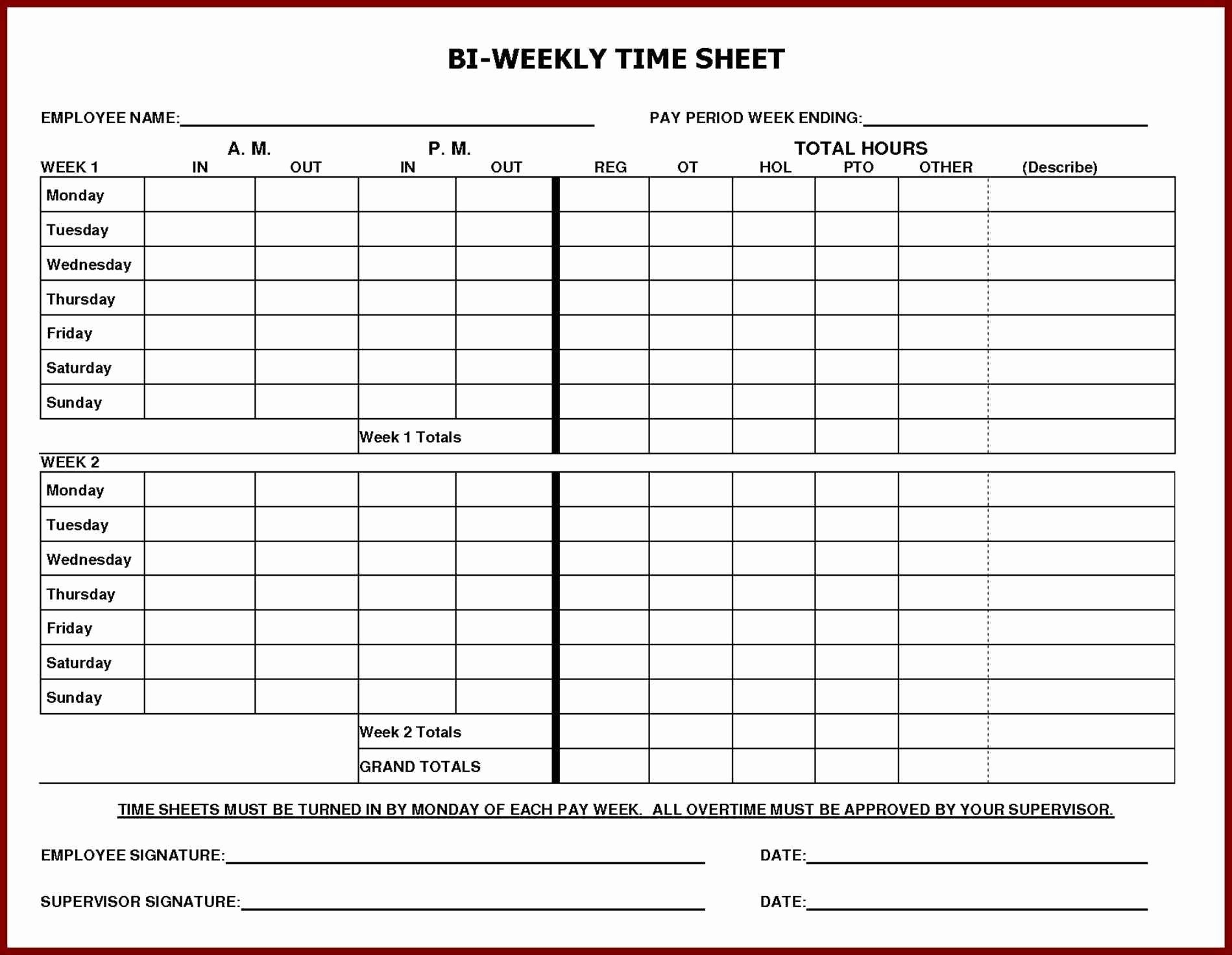 Weekly Employee Timesheet Template | Template Modern Design intended for Printable Blank Bi-Weekly Employee Schedule