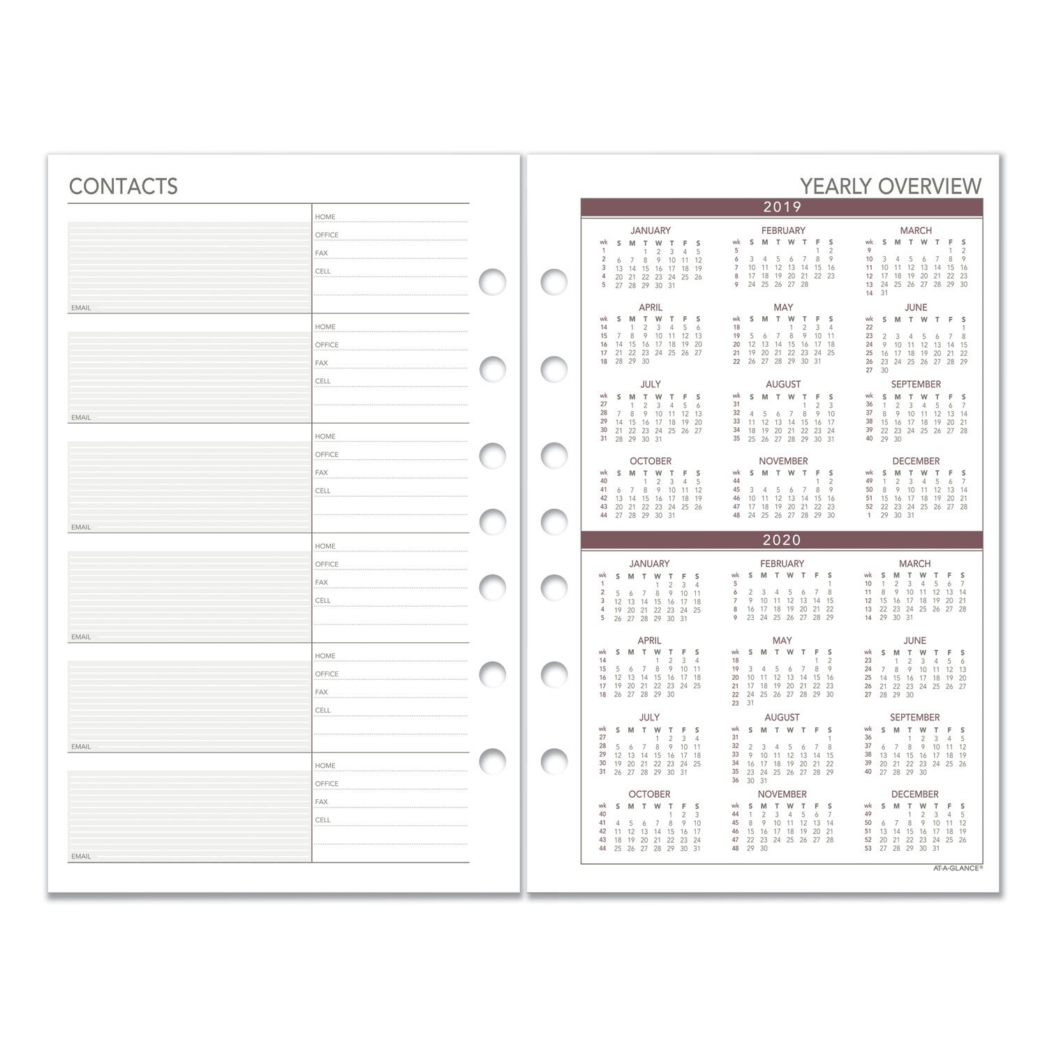Weekly Planning Pages Refill, 8 1/2 X 5 1/2, 2020 - Reparto regarding 8.5 X 11 Calander Filler For 2020