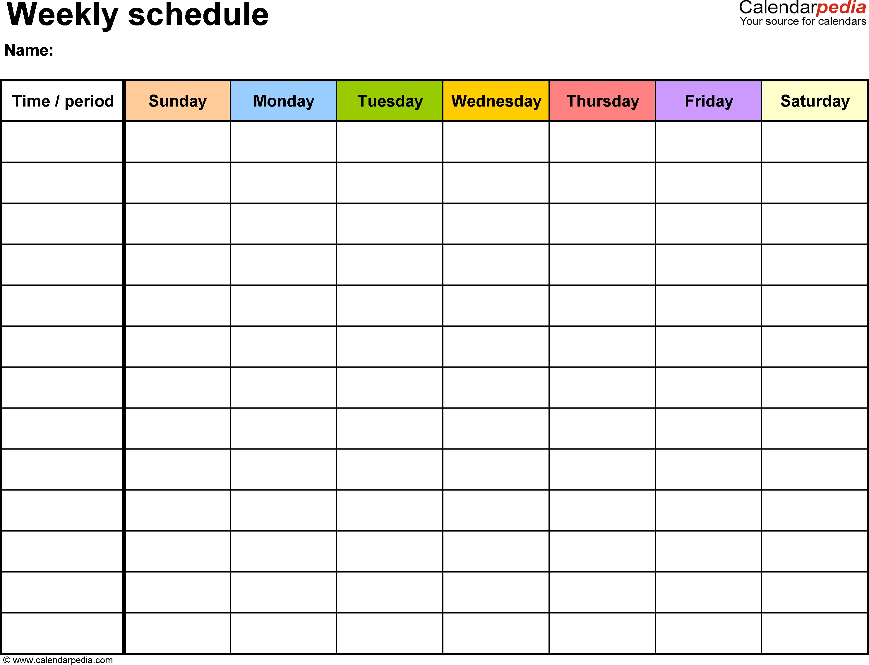 Weekly Schedule Template For Word Version 13: Landscape, 1 Page intended for Printable Seven Day Calendar Print Out