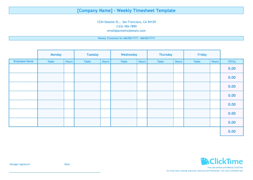 Weekly Timesheet Template For Multiple Employees | Clicktime pertaining to Printable Blank Bi-Weekly Employee Schedule