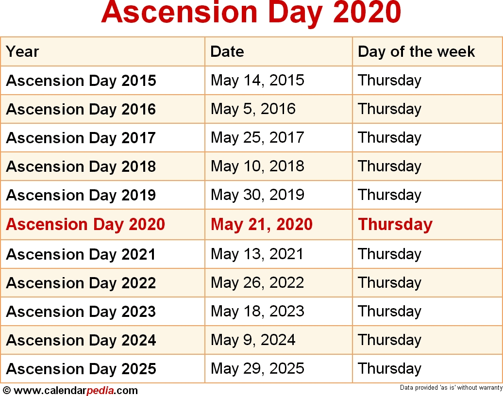 When Is Ascension Day 2020 & 2021? Dates Of Ascension Day throughout Catholic Liturgical Calendar 2020 Pdf