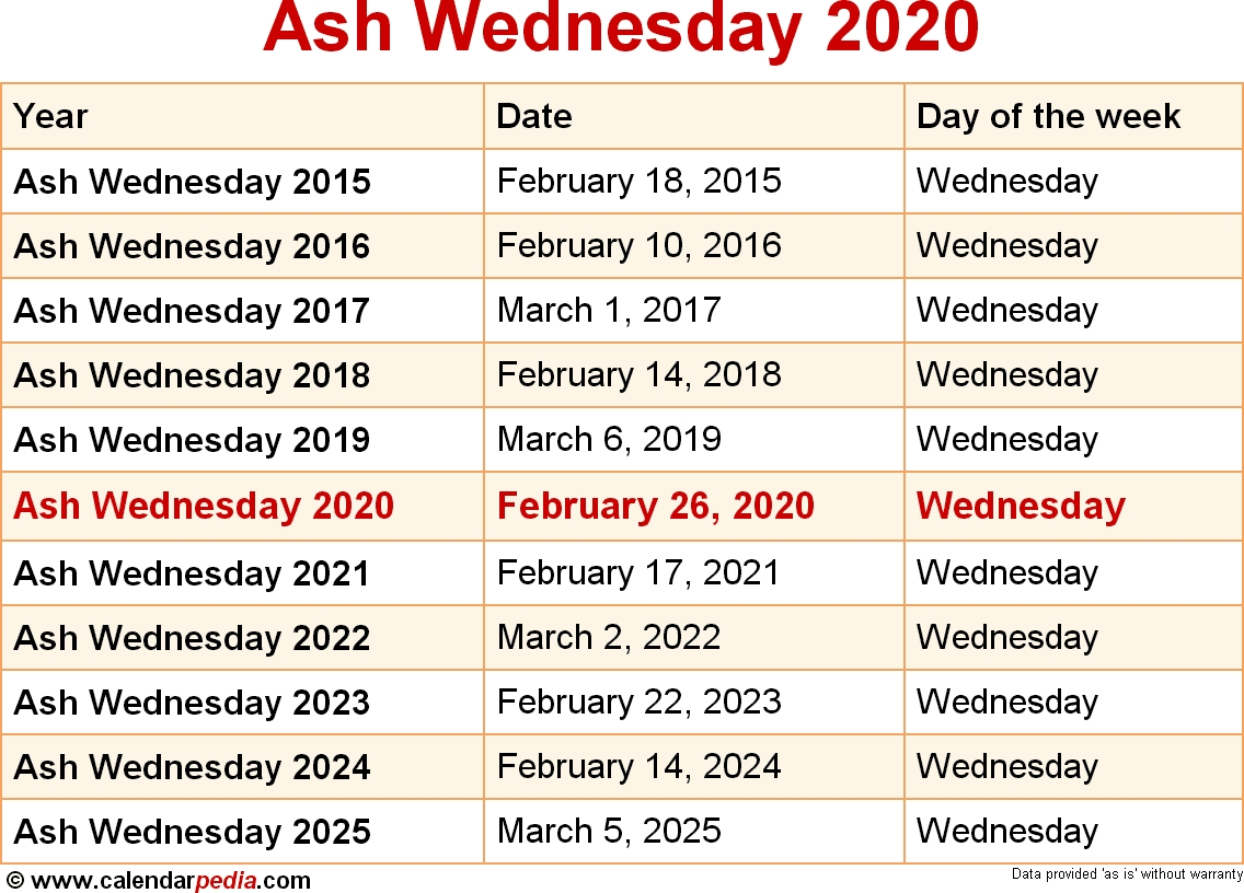 When Is Ash Wednesday 2020 & 2021? Dates Of Ash Wednesday with regard to Special Days Of The Year 2020