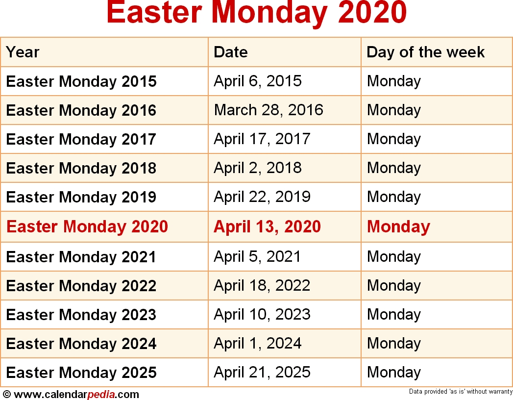 When Is Easter Monday 2020 & 2021? Dates Of Easter Monday with regard to Printable Catholic Liturgical Calendar 2020
