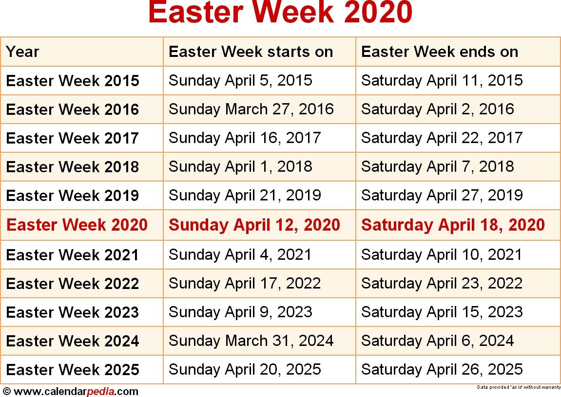 When Is Easter Week 2020 & 2021? Dates Of Easter Week pertaining to Catholic Liturgical Calendar 2020 Pdf