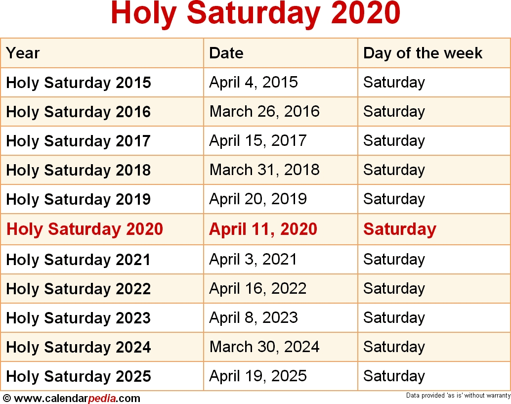 When Is Holy Saturday 2020 & 2021? Dates Of Holy Saturday with regard to 2020 Calendar Sunday Through Saturday