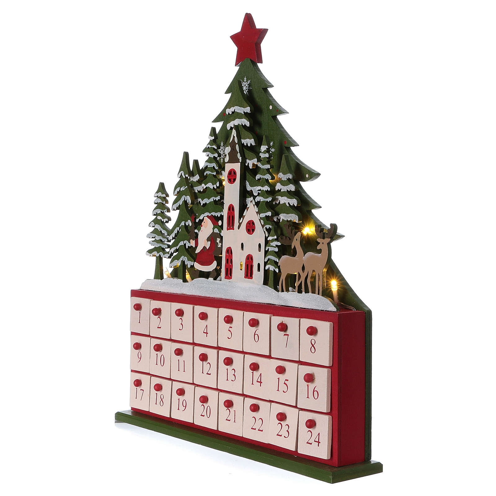Wooden Advent Calendar Led With Small Boxes And Church 40 Cm for Wooden Advent Calendar With Lights And Boxes