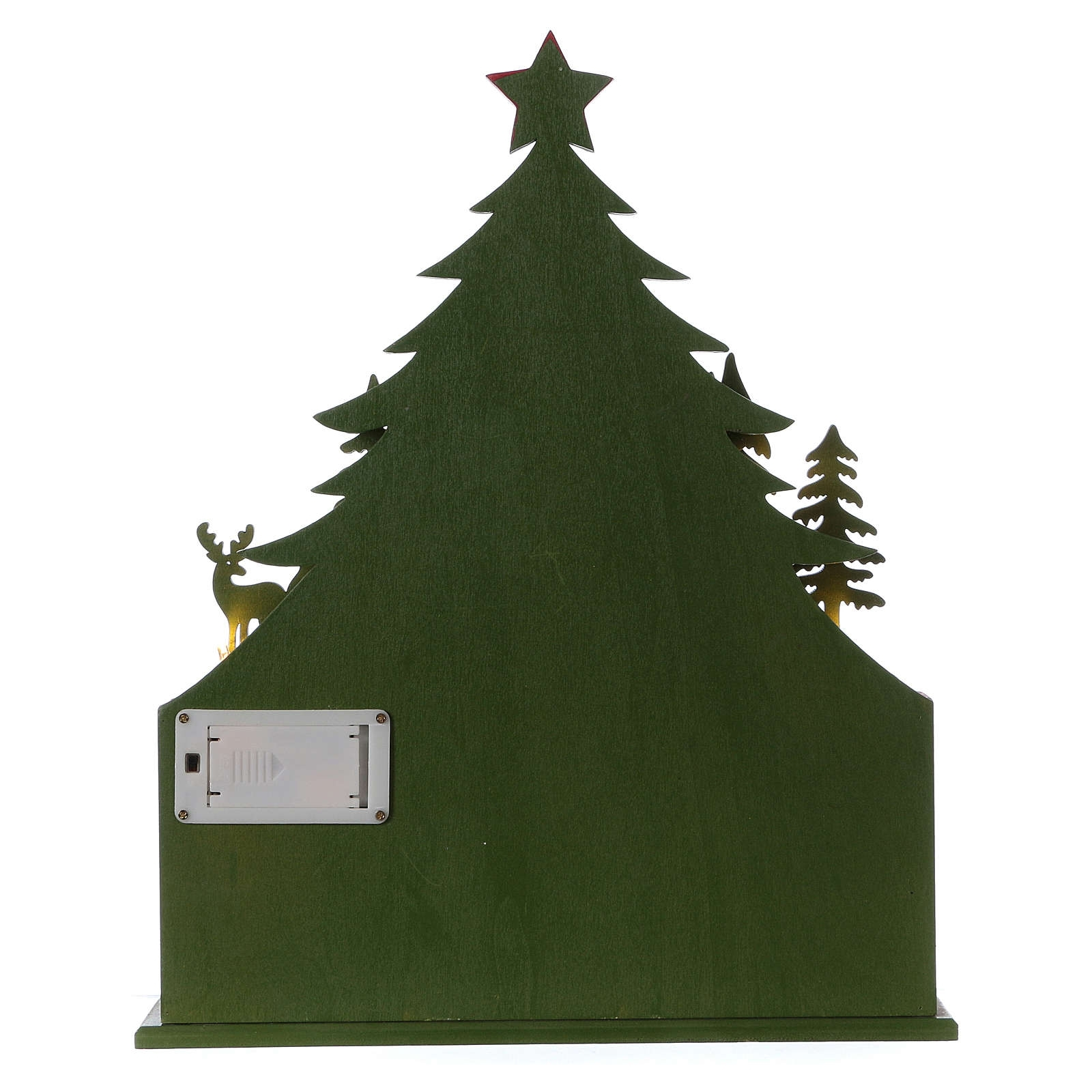 Wooden Advent Calendar Led With Small Boxes And Church 40 Cm pertaining to Wooden Advent Calendar With Lights And Boxes