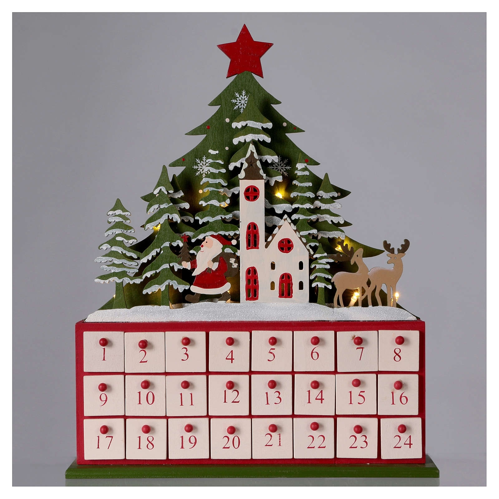 Wooden Advent Calendar Led With Small Boxes And Church 40 Cm with regard to Wooden Advent Calendar With Lights And Boxes