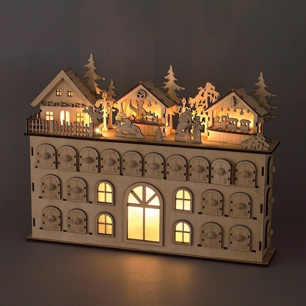 Wooden Advent Calendar With Lights And Boxes | Template Calendar with regard to Wooden Advent Calendar With Lights And Boxes