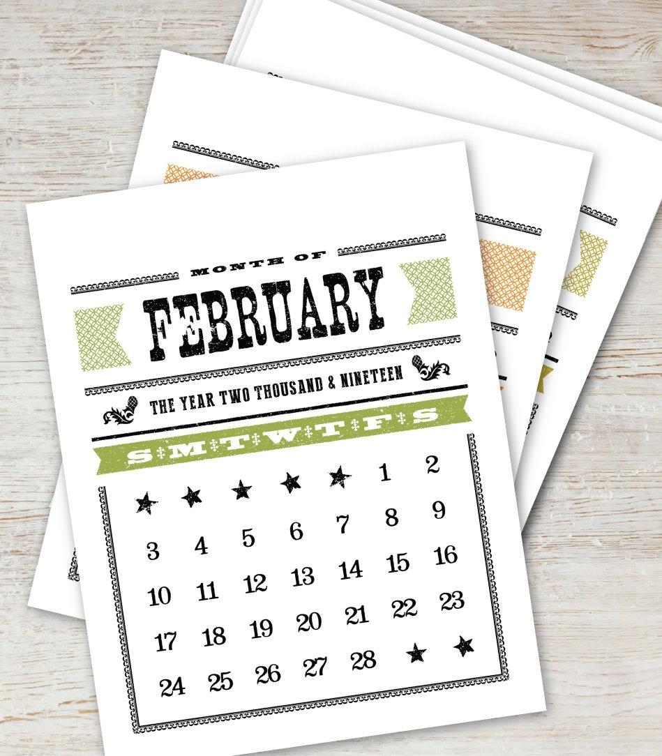 Woodtype Printable Calendar 2019 2020 Instant Download Digital | Etsy regarding 5X 7 Printable 2019-2020