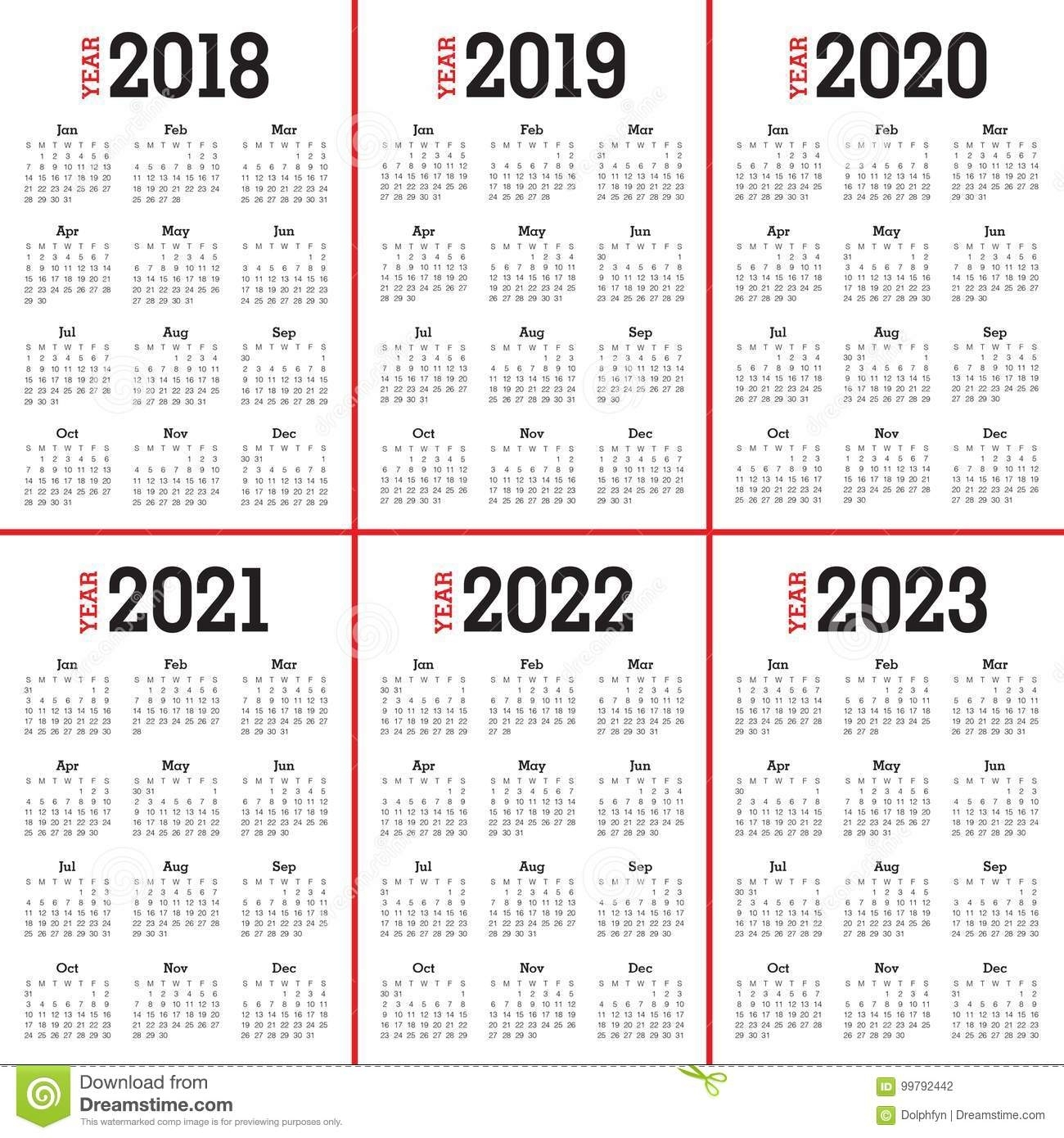 Year 2018 2019 2020 2021 2022 2023 Calendar Vector Stock Vector intended for 2020 To 2023 Calendars