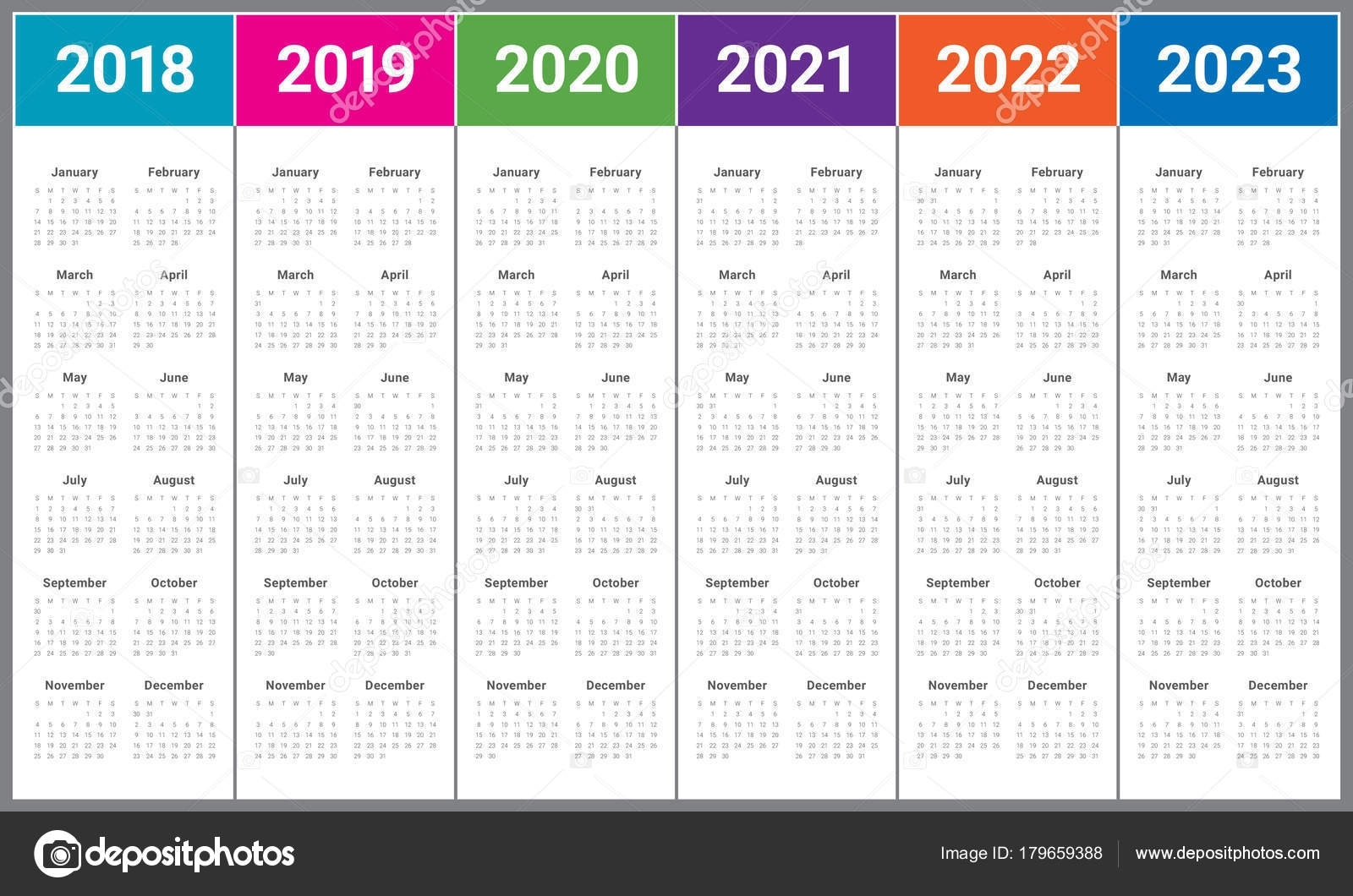 Year 2018 2019 2020 2021 2022 2023 Calendar Vector — Stock Vector intended for Calendar Yearly 2019 2020 2021
