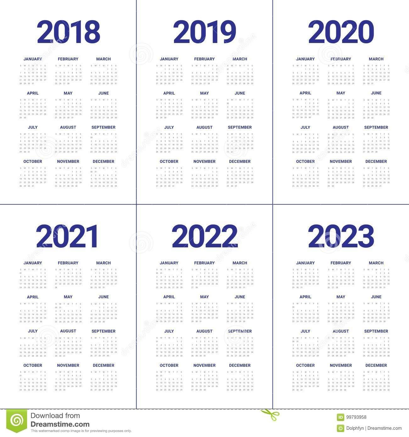 Year 2018 2019 2020 2021 2022 2023 Calendar Vector Stock Vector regarding Print 2019, 2020, 2021, 2022, 2023, Calender
