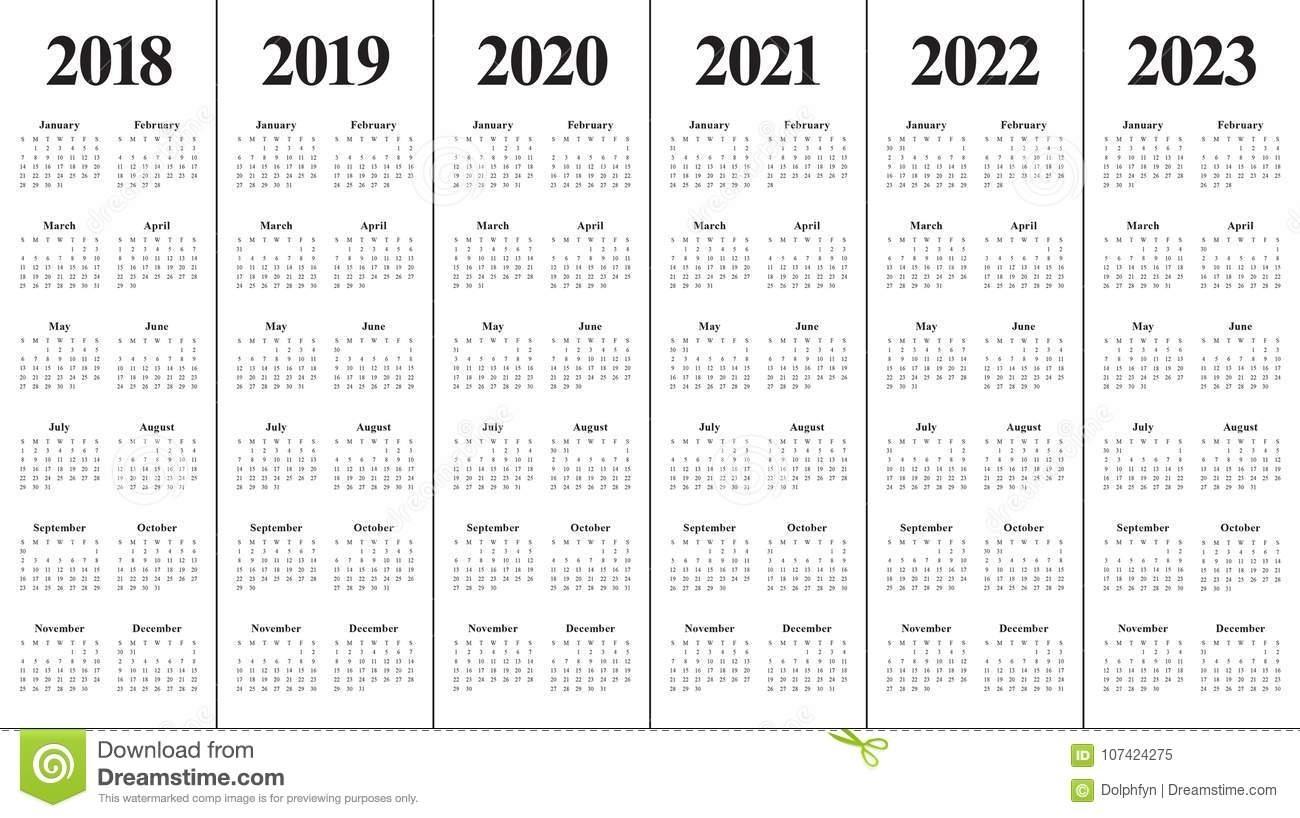 Year 2018 2019 2020 2021 2022 2023 Calendar Vector Stock Vector with regard to Print 2019, 2020, 2021, 2022, 2023, Calender