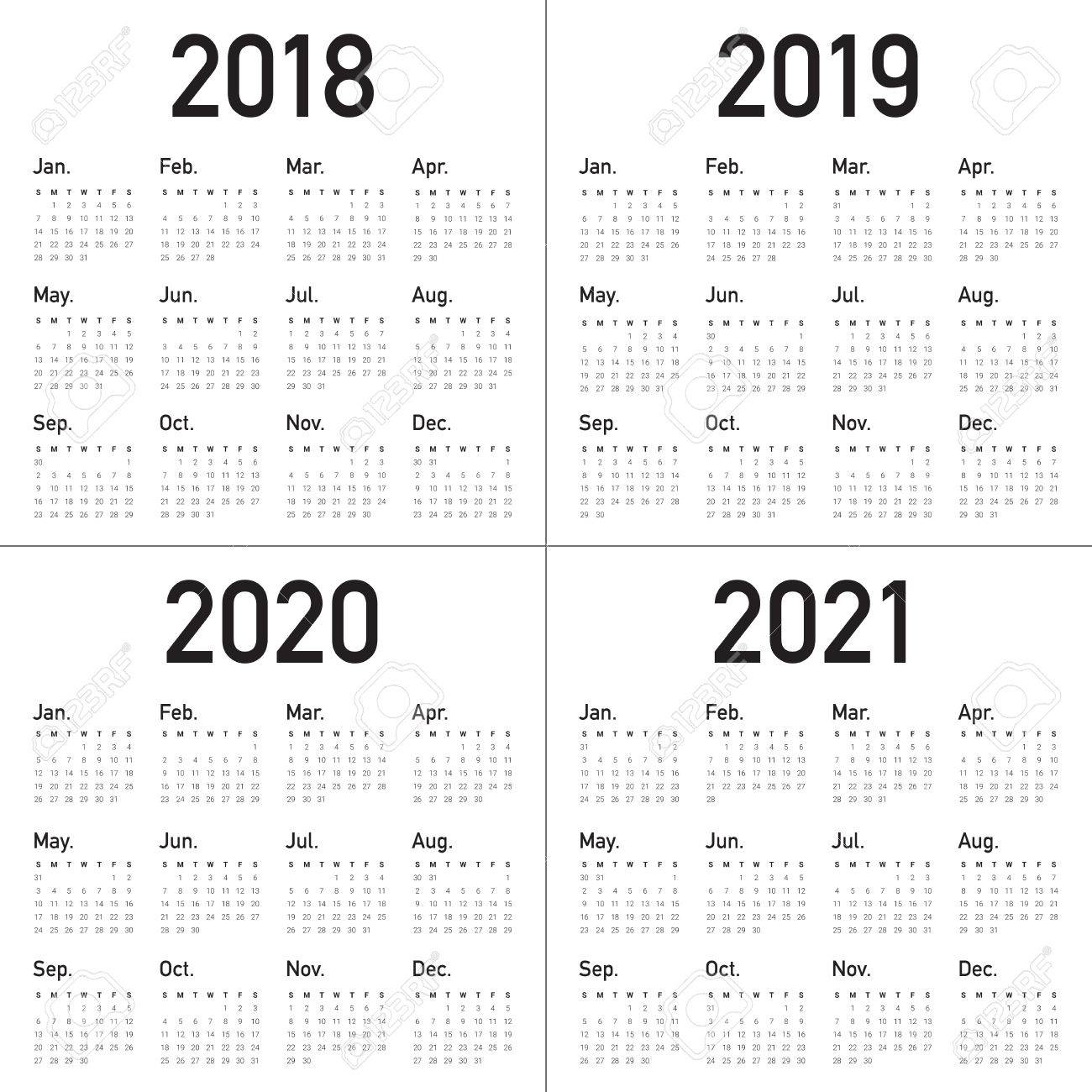 Year 2018 2019 2020 2021 Calendar Vector Design Template, Simple within Calendars 2019 2020 2021